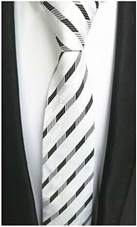 MENDENG New Classic Grids Yellow Black Jacquard Woven Silk Mens Tie Suit Necktie