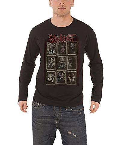 Slipknot T Shirt Masks Band Logo Official Mens Black Long Sleeve (Slipknot Jacket Women)