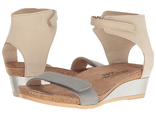 Naot Footwear Women's Prophecy Light Gray Nubuck/Beige Nubuck Sandal Light Gray Footwear