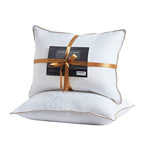 - Lofe Bed Pillows for Sleeping, Queen Size, Goose Down Alternative Pillow 2 Pack, Luxury Cotton Cover, Super Soft Plush Fiber Fill, Adjustable Loft, Relieve Neck Pain, for Side and Back Sleeper