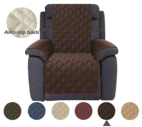 "Ameritex Recliner Chair Cover Waterproof Stay in Place, Furniture Protector, Recliner Slipcovers for Dogs (23"", Chocolate)"