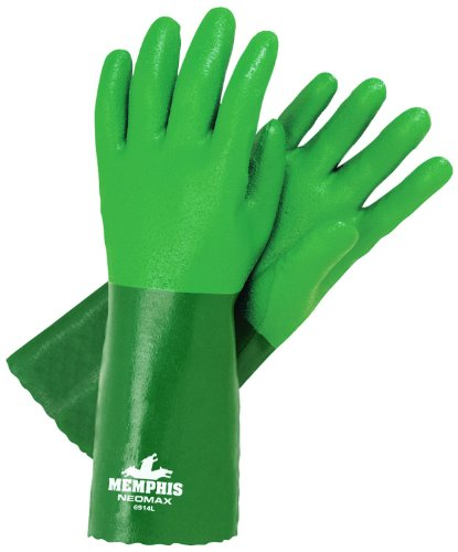 MCR Safety 6914L Neomax Supported Neoprene/Cotton Sandy Finish Interlock Lined Gloves with 14-Inch Gauntlet, Green, Large, 1-Pair