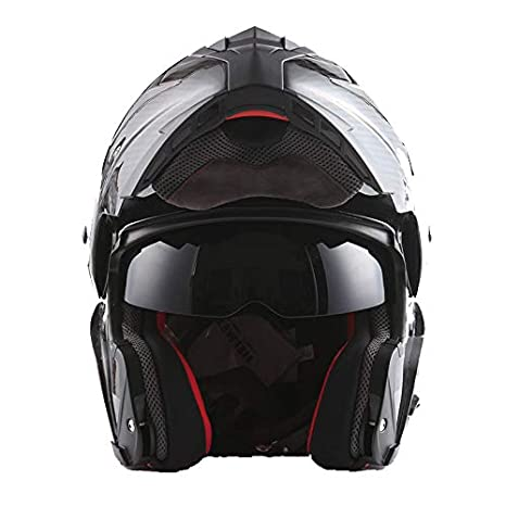MARS Genuine Real Carbon Fiber Motorcycle Modular Flip up Full Face Helmet Black (3.5 lb), DOT Approved