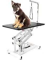 WilTec klippning trimningsbord för trimning hydrauliskt hopfällbart för hund och katt