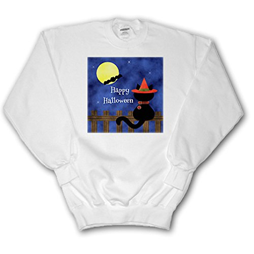 Charlyn Woodruff - CW Designs Holidays - Halloween - Cute Black Cat Happy Halloween - Sweatshirts - Adult SweatShirt XL (Cute Halloween Cat Pics)