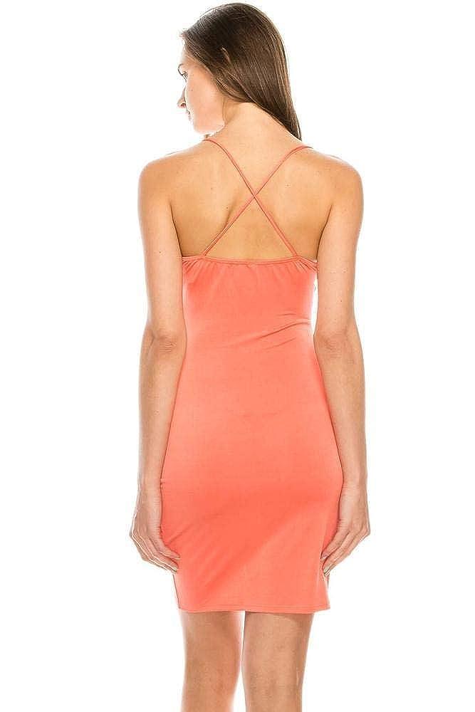 SALT TREE Womens Strappy Cowl Neck Front Split Ruched Satin Knee Dress