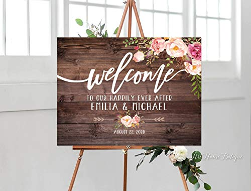 GMK Welcome to Our Happily Ever After Sign,Rustic Welcome Wedding Sign,Landscape Wedding Sign,W