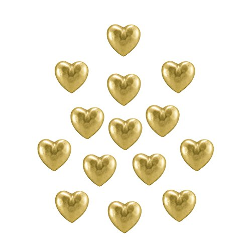 NEW 15PC LARGER HEART PUSH PINS, ANTIQUE GOLD