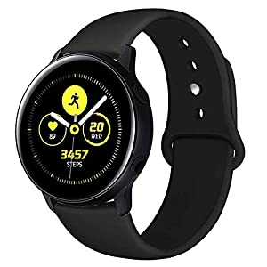 Compatible with Samsung Galaxy Watch 42mm Band/Galaxy Watch Active 40mm Bands, 20mm Silicone Strap Sports Replacement Wristband Women Men for Galaxy Watch Active 40mm (Black, Large)