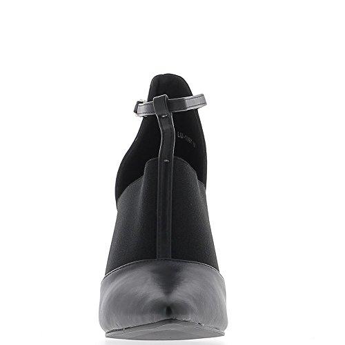 Escarpins noirs pointus à talon épais 10 cm bi matière