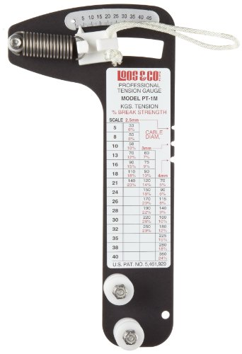 Sailboat Rigging Tension Gauge from Loos & Co., PT-1M Professional Metric Hands-Free Force Gauge for Tensioning and Tuning of Shrouds, Cable Rigs, Wire Rope Standing Rigging, and Forestays, for 2.5, 3, and 4 milimeter Cable Diameter