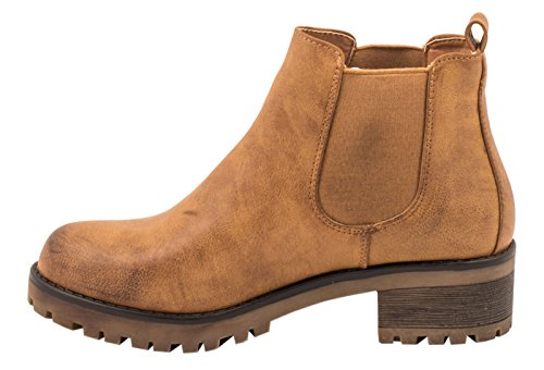 Elara Chelsea Boots | Cómodo Mujer Botines | Suela bloque tacón | chunkyr ayan Camel Leder