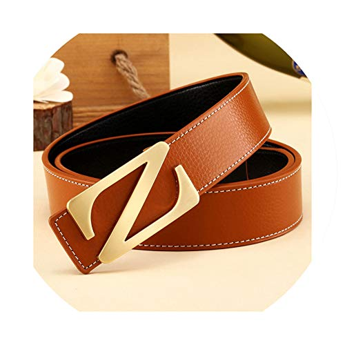 Fashion men Leather Belts Casual Smooth Buckle Women's Belts men's straps For Male Female,female G brown,120cm