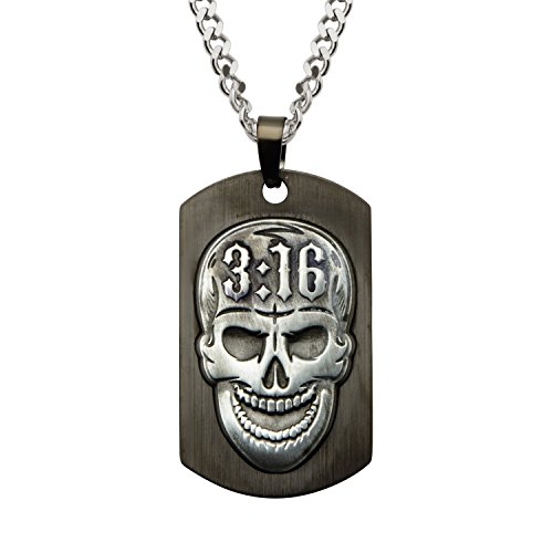 WWE Jewelry Steve Austin Stone Cold Skull Stainless Steel Black-Plated Men's Pendant Necklace, 24'' by WWE Jewelry