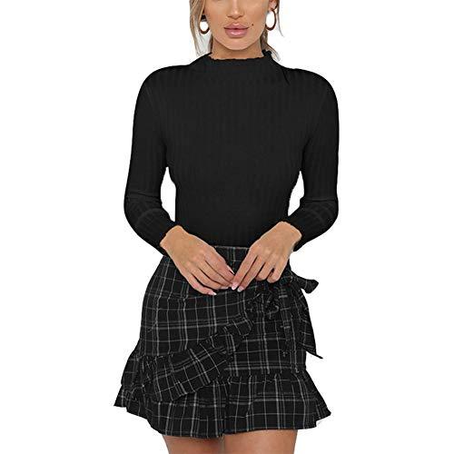 Antopmen Women Half Turtleneck Ruff Long Sleeve Soild Color Casual Slim Tees (Small, ()