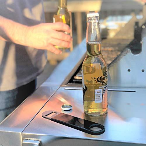 ProSMF Flat Beer Bottle Openers, Bartender Stainless Steel Heavy Duty, Black Vinyl Coated Handle - 2 Large and 1 Mini
