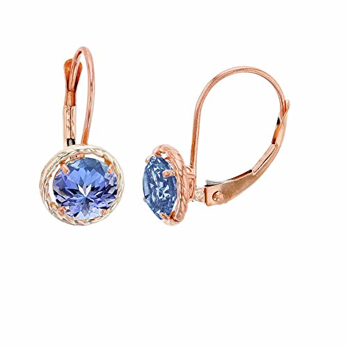 10K Rose Gold 6mm Round Tanzanite Center Stone Rope Frame Leverback Earring ()