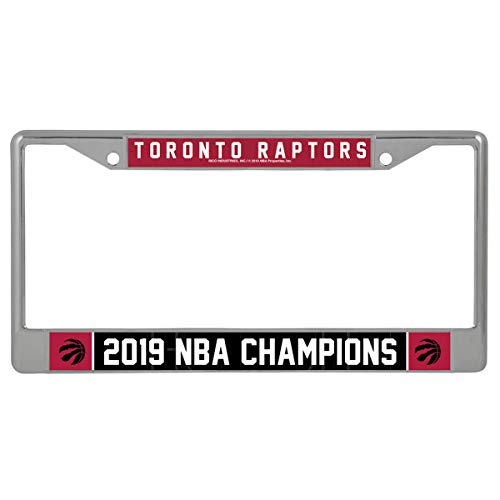 Rico Industries NBA Toronto Raptors 2019 Basketball Champions Standard Chrome License Plate Frame