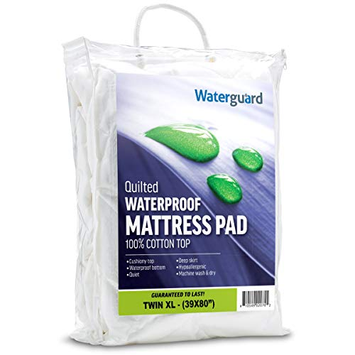 (Waterguard Twin Extra Long Mattress Pad Protector Waterproof Cotton Cover Microfiber Bottom - Quilted and Fitted (Twin XL Size 39x80) Hypoallergenic and Breathable)