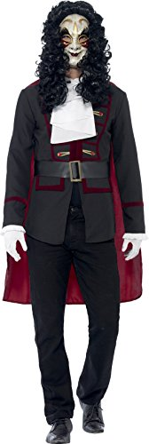 Smiffy's Men's Venetian Highwayman Costume, Jacket, Cape and Collar, Carnival of the Damned, Halloween, Size L, (Highwayman Costume)