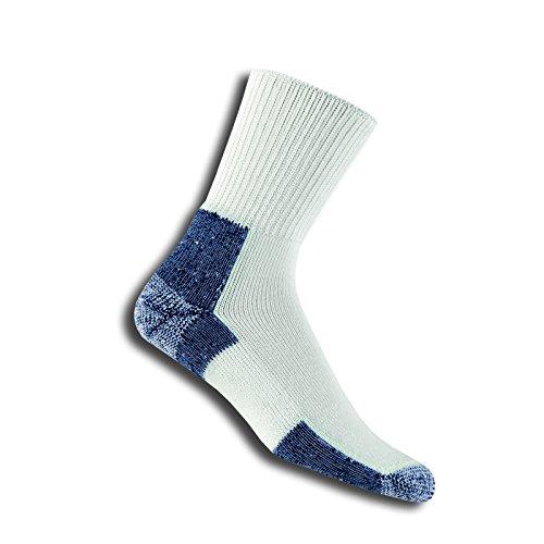 Navy Pack 2 Crew Sock (Men's - Women's Running Thick Padded Crew Socks (2 Pack - Large, White/navy))