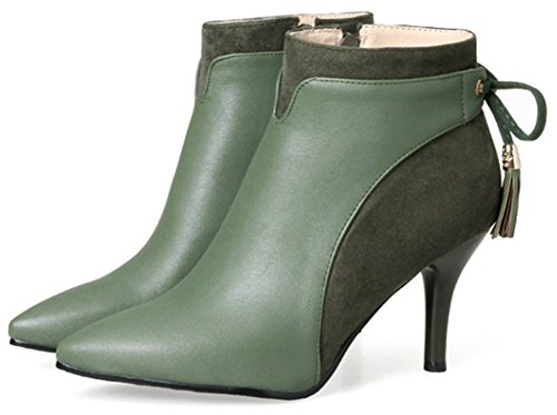 Easemax Women's Dressy High Stiletto Heel Pointed Toe Zip Up Faux Suede Short Ankle High Martin Boots Army Green aL1fR