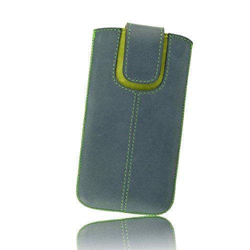 """OrLine Etui Case Lederetui für Apple Iphone 6 S 4,7"""" Echt Leder Case Ledertasche Tasche Lederetui mit Magnetverschluss in der Farbe blau/grün/ Handarbeit"""