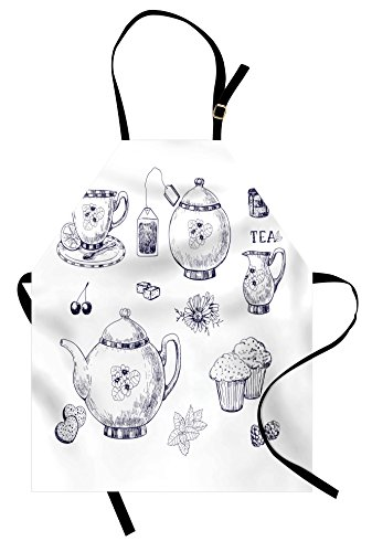 Ambesonne Blue and White Apron, Hand Drawn Teapots and Cups Muffins and Bags Vintage English Tradition, Unisex Kitchen Bib Apron with Adjustable Neck for Cooking Baking Gardening, Navy Blue -