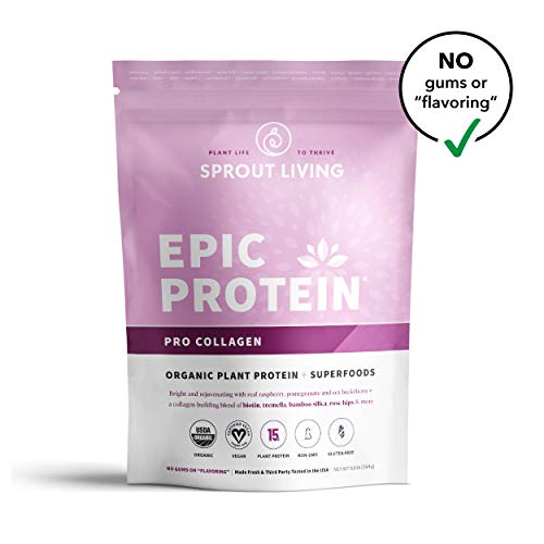 Sprout Living Epic Protein Powder, Pro Collagen, Organic Plant Protein, Gluten Free, No Additives, 15 Grams Protein, Plant-Based Collagen Booster (0.8 Pound,13 Servings)