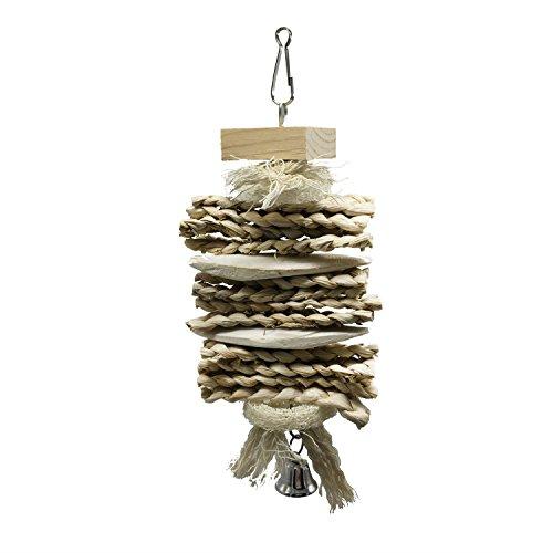 XiYunHan Bird Chew Toy,Wood Hand Made Squash Squid Melon Cuttlefish Skewers Hanging String Corn Bran Knit Climbing Bite Weaving Manual Leaf Colorful Bell Pet Parrot Supplies