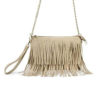 Hoxis Fringe Cross Body Bag Womens Small Shoulder Bag Top Zip Wristlet Khaki
