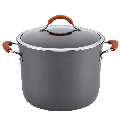 picture of Rachael Ray Cucina Hard-Anodized Nonstick 10-Quart Covered Stockpot, Gray with Pumpkin Orange Handles