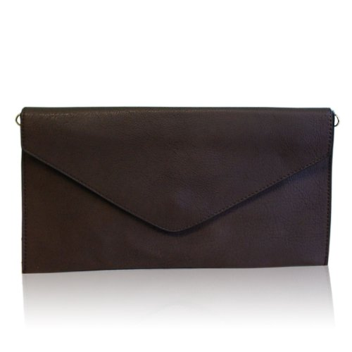 Women Evening Clutch Wedding Style Envelope Faux Bag Ladies Purse Leather Coffee New Apx8X6A