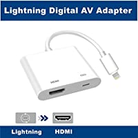 Lighting to HDMI, Lighting to HDMI Adapter, Lightning Digital AV Adapter, with Lightning Charging Port, Compatible iPhone, iPad, iPod Touch, for HD TV Monitor Projector 1080P (White)