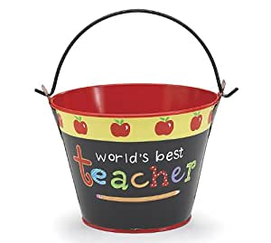 """Worlds Best Teacher"" Tin Pail With Apple Design Adorable Gift Pail"