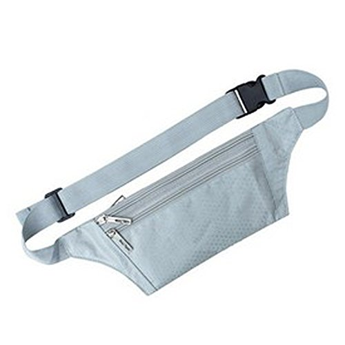 cash Earphone Breathable with Belt Hiking and Reflective Pouch Running Reflective cell Sport phone Cycling belt Sweat cards Fitness Jogging Sijueam Grey Bag Waist proof Pouch Hole Carry Not Waist Travel Bag xRgqqHYw