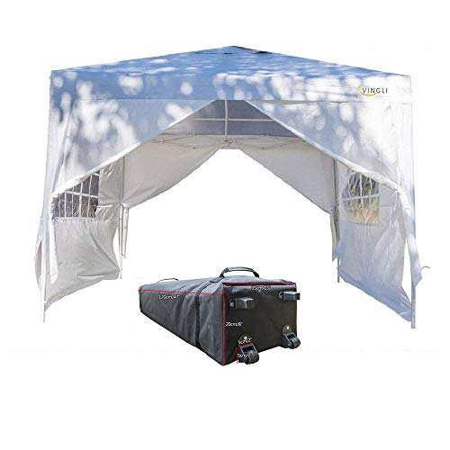 VINGLI Bonnlo Heavy Duty 10' x 10' Ez Pop Up Canopy Tent with 4 Removable Sidewalls Panels,White Folding Instant Wedding Party Outdoor Commercial Event Gazebo Pavilion W/ Carrying Bag