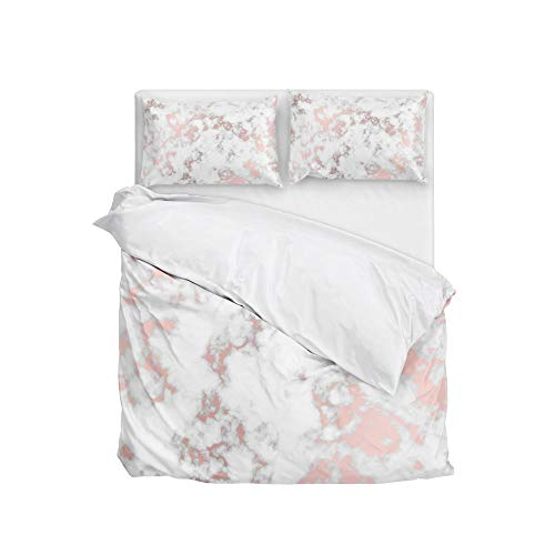 Cooper girl Rose Gold Marble Duvet Cover Set King Soft Microfiber Polyester 1 Duvet Cover and 2 Pillow Shams Three Piece