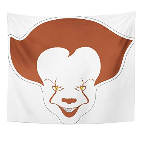 Emvency Tapestry Drawing Evil Clown Sticker Scary Cartoon Character Circus Creepy Face Halloween Home Decor Wall Hanging for Living Room Bedroom Dorm 60x80 Inches]()