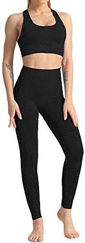 3 piezas entrenamiento cultivo con agujero para el pulgar manga larga DONYKARRY Conjunto de ropa deportiva sin costuras gimnasio yoga