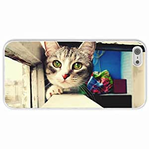 Customized Apple iPhone 5 5S PC Hard Case Diy Personalized DesignCover eyes balcony White