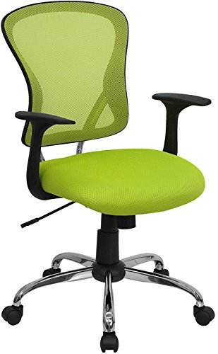 Flash Furniture Mid Back Green Mesh Swivel Task Chair With Chrome Base And  Arms