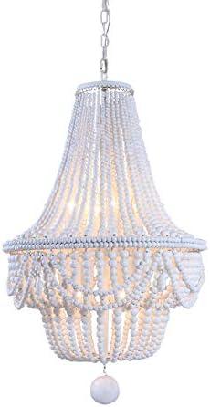 Lovedima Retro Classic Wood Beaded Basket 8-Light Chandelier in Gray Blue White White