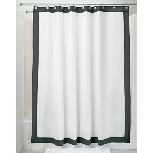 InterDesign Mildew-Free Water-Repellent Frame Fabric Shower Curtain, 72-Inch by 72-Inch, ()