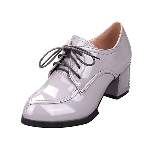 ENMAYER Womens PU Material Flat Square Toe Retro Casual British Lace up Shoes Plus Size Gray MKHTfM