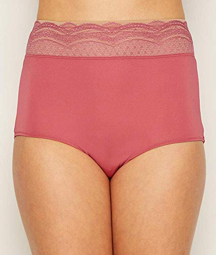 Warner's Women's No Pinching No Problem Microfiber with Lace Brief Panty, Rose Wine, 08