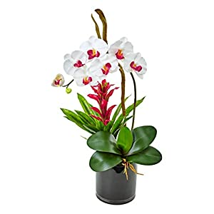 Artificial Flowers -White Orchid and Bromeliad in Glossy Black Cylinder Arrangement 105