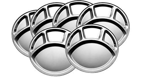 6-Pack STAINLESS STEEL Plate: 4 Compartment |12