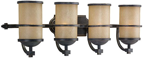 Tropical Lighting Fixtures (Sea Gull Lighting 44523-845 Roslyn Four-Light Bath or Wall Light Fixture with Creme Parchment Glass Shades, Flemish Bronze Finish)