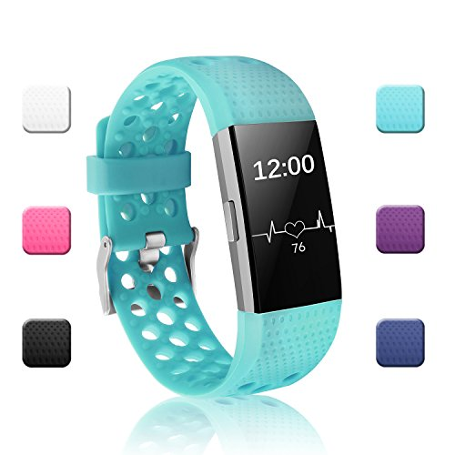 POY Replacement Bands Compatible for Fitbit Charge 2, Adjustable Breathable Wristbands with Air Holes Straps, Large Teal 1PC